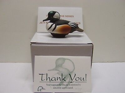 Jett Brunet Ducks Unlimited Miniature Decoy Hooded Merganser 2009 RARE /