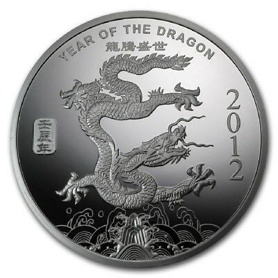 "2012 ""YEAR OF THE DRAGON""  1 oz. .999 Fine SILVER Round"