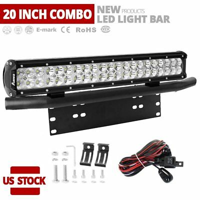 20inch 126W CREE LED Work Light Bar Flood Spot Driving Offroad 4WD Truck + Wire
