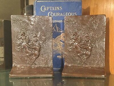 Antique Griffoul bookends, Nymphs and Satyr, circa 1915, solid bronze