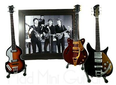 Miniature Guitars THE BEATLES with Stand + Photo + Frame 8x10 inches