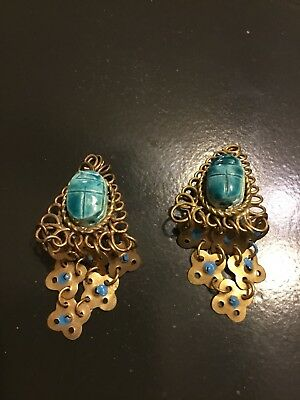 Vintage  Art Deco Egyptian Revival  Earrings 1920 Scarab Clip 2""