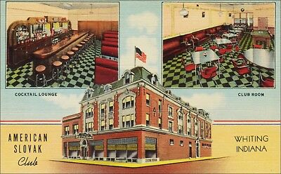 American Slovak Club, Bar, Bar Stools, Club Room Interior, Whiting, IN. Linen.
