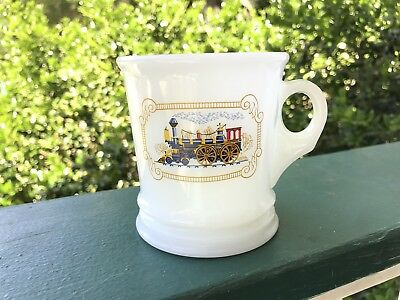 Avon Milk Glass Locomotive Train Shaving Shave Mug Cup Vintage