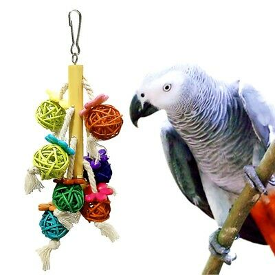 Pet Parrot Natural Rattan Ball Swing Toy Bird Chewing Colorful Toys Accessory US