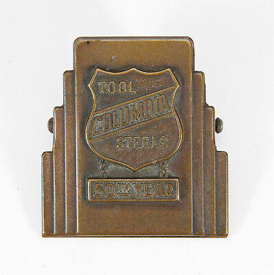 Art Deco Brass COLUMBIA TOOL STEEL CO 50th Anniversary Letter Holder Paperweight