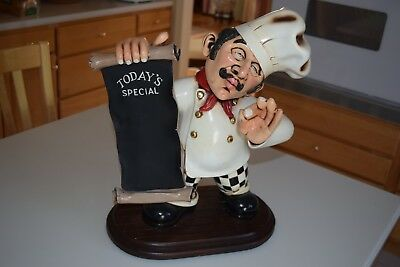 "Chef Statue Holding Menu - Restaurant Display Home Decor (18"" tall)"