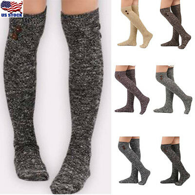 Women Ladies Turn Up Wool Blend Long Knee High Stockings Winter Warm Socks High