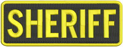 sheriff embroidery patches 3x8 hook on back yellow letters