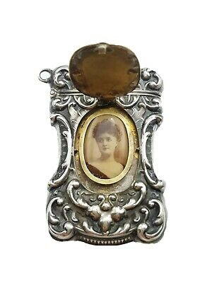 Antique Sterling Silver Rococo Hidden Photo Chatelaine Fob Vesta Case Match Safe