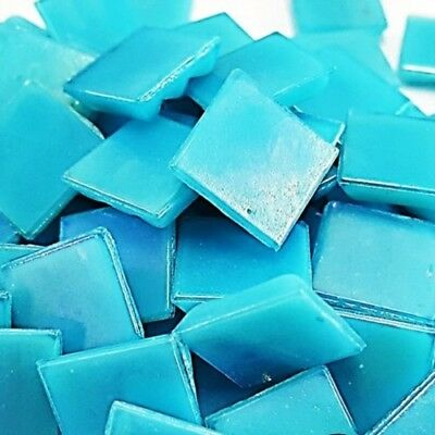 Mosaic Iridescent Tiles 15x15mm x 50pc - Light Blue