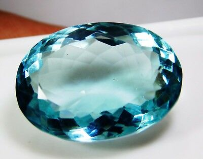 35.40 Cts. Natural Oval Cut Transparent Ocean Blue Aquamarine Loose Gems. 1445 P