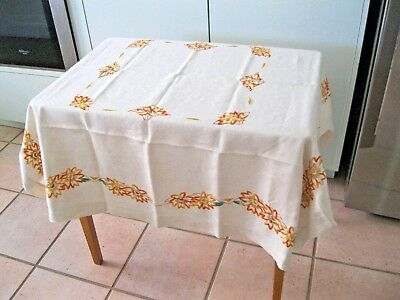 Vintage Hand Embroidered Linen Table Cloth Featuring Orange Flowers.