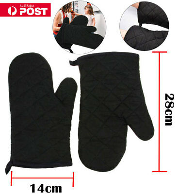 1 Pair Cotton Thick Kitchen Baking Cook Insulated Padded Oven Gloves Mitt Black