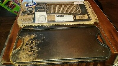 "Vintage Lodge Pro-Grid Cast Iron Grill and Griddle Reversible 20"" x 10.44"""