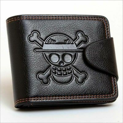Cosplay Anime One Piece Luffy Black Wallet Purse Embossed with Luffy Skull Mark