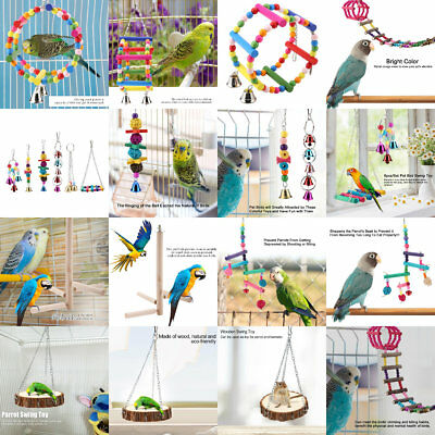 Swing Cage Hanging Cockatiel Parakeet Pet Bird Bites Toy Parrot Chew Ball Toys