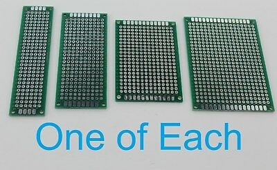 4 Double Sided PCB Proto Perf Board Through Plated 2x8 3x7 4x6 5x7 USA Comb Ship