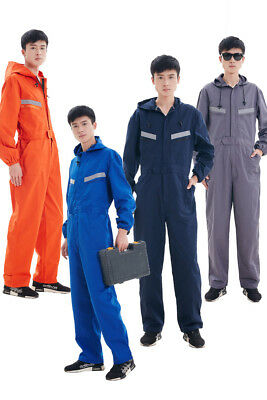 Unisex Boilersuit Hooded Coverall Overall Workwear Tuff Work Jumpsuit Uniform