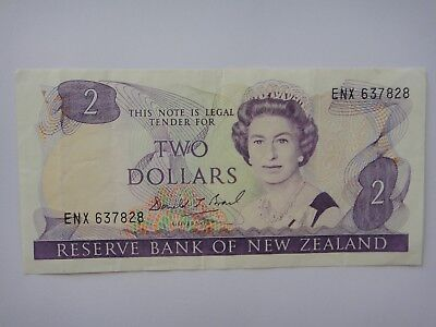 1989-1992 - New Zealand  $2 Dollar  Old Paper Banknote VF++ Condition