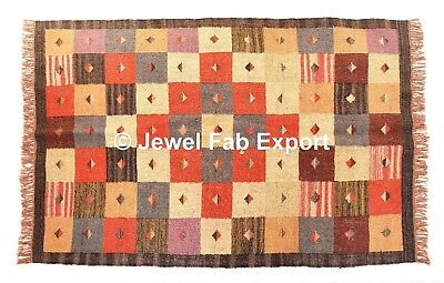 Indian 4x6 Ft Large Hand Loomed Floor Flat Weave Jute Bleached Large Area Rug