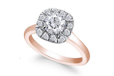 IGI Certified 1-1/2Cttw Round Diamond Halo Engagement Ring in 18k Rose Gold
