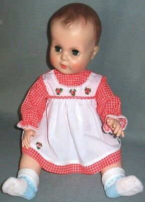 """Red Checks Doll Dress fits 19-23"""" Dolls, VINTAGE Store Stock 1960's"""