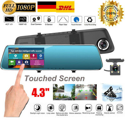 "4.3"" Auto Kamera Touch Screen Mirror Dashcam HD 1080P Rearview Dual Lens DVR Cam"
