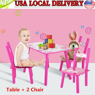 3PCS Baby Kids Dining Set Wood Table and 2 Chairs Kitchen Breakfast Furniture