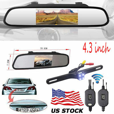4.3'' LCD Rear View Mirror Monitor with Wireless Night vision 4LED Backup Camera