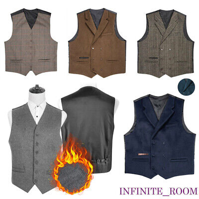 New Mens Classic Waistcoat Blend Wool Mix Tweed Collar Check Formal Gilet Vest