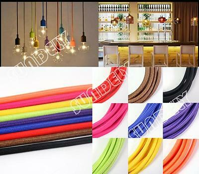 UK Twisted Silk Braided Vintage Fabric Coloured Lighting Cable Flex 2core 0.75mm
