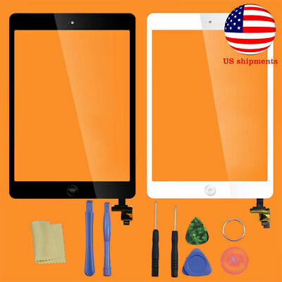 Touch Screen Glass Digitizer Replacement + IC Chip+Home Button For iPad Mini 1 2