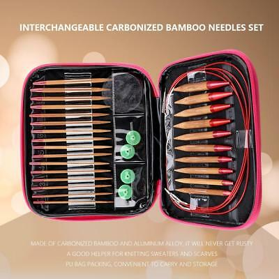 Interchangeable Carbonized Bamboo Needles Set Aluminum Circular Knitting Needles