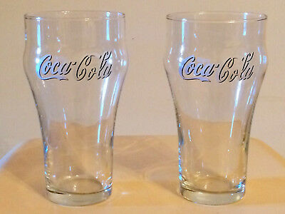 2 x Clear Enjoy Coca Cola Coke 370ml Badged Drinking Glasses Unused