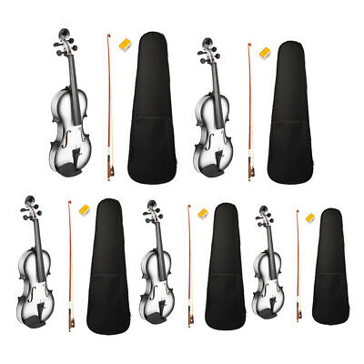 Solid Wood Acoustic Violin Fiddle Black/White with Shell Case Bow Rosin