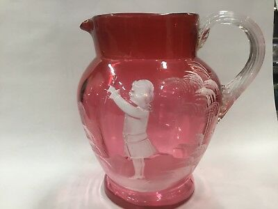 VINTAGE PINK GLASS CANBERRY LARGE Water JUG MARY GREGORY VASE ENAMELLED
