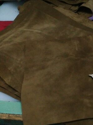 Tobacco colour suede genuine leather cowhide 1,5 mm thick leather crafts #A83