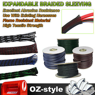 3-20mm Expandable Wire Cable Sleeving Sheath Braid Loom Braided (4 Colours Mix)