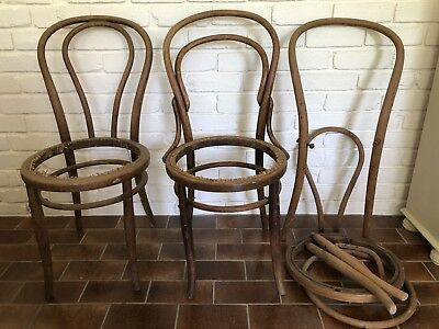 3 Antique Vintage Bentwood Chairs For Restoration