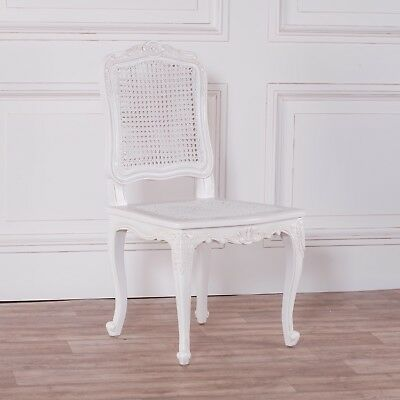 French Rococo Chateau Louis Carved Classic White Rattan Dining Bedroom Chair