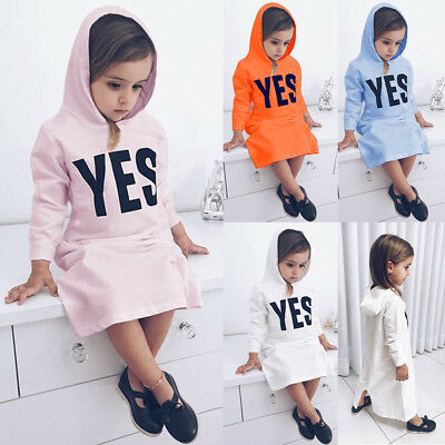 Toddler Kid Baby Girl Long Sleeve Dress Hooded Sweater Overpull Cotton Outerwear