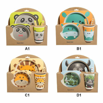 Bamboo Fiber Kids Tableware Baby Cutlery Plate Tableware Feeding Set Containers