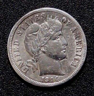 1914 UNITED STATES 10 cents Silver Barber Dime (94A)