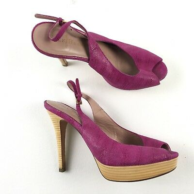 72381fb3f27 COLE HAAN SADIE? Peep Toe Wedge Heels Magenta Womens 7.5 Purple Pink ...