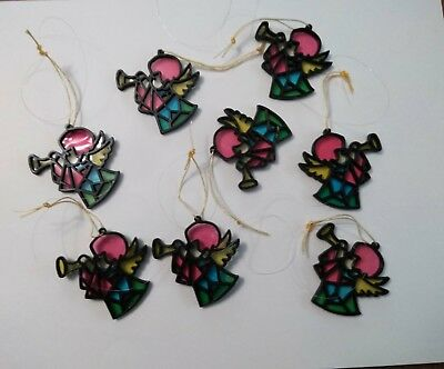Vintage Christmas Stained Glass Plastic Angels Mid Century Hong Kong Ornaments