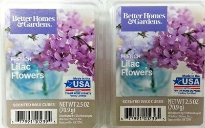 BETTER HOMES AND GARDENS Scented BHG WAX CUBES Melts FRENCH LILAC FLOWERS x2