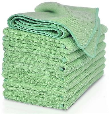 Pack of 10 Green Premium Microfibre Cleaning Cloths - 40cm x 40cm - Home Worktop