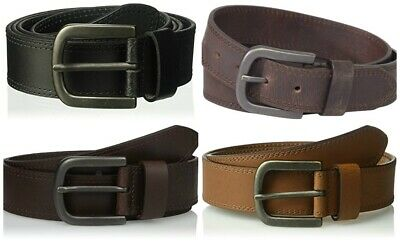 Dickies Men's Two Row Stitch leather Belt single-prong buckle in metallic finish