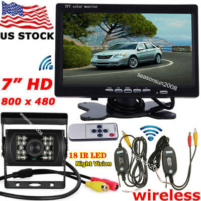 "Wireless 7"" TFT LCD Monitor+18LEDs IR Night Vison Backup Camera for RV Bus Truck"